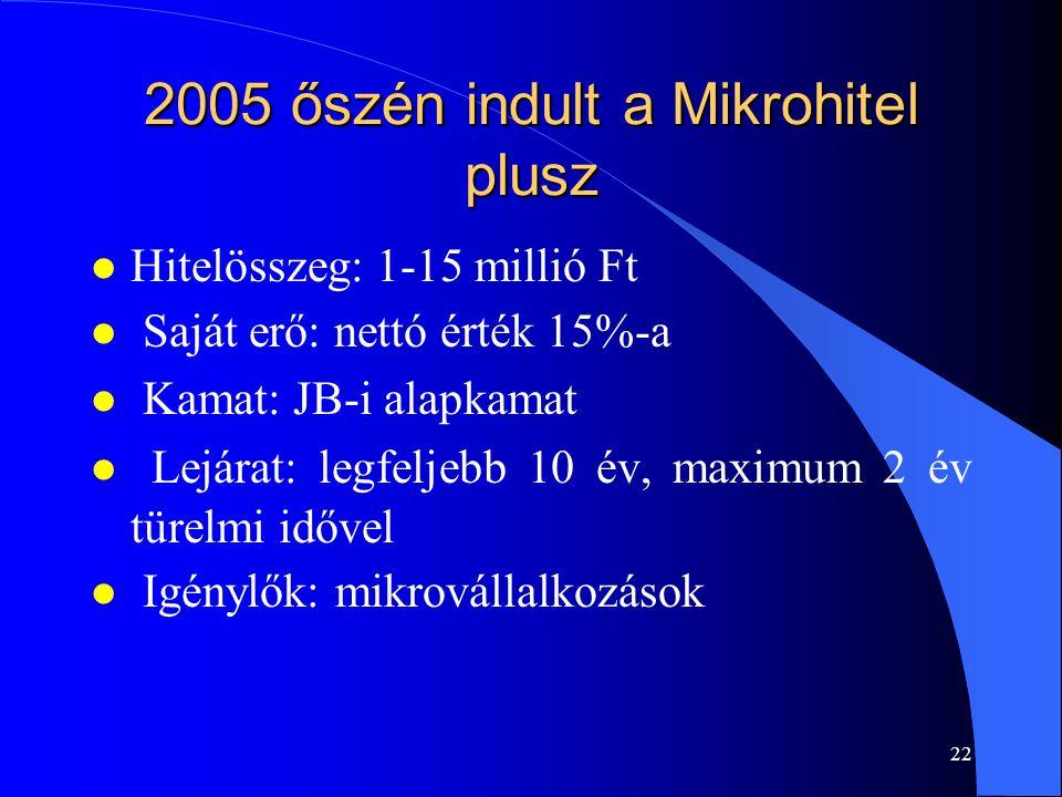 21 Tájékoztató a magyarországi kis- és középvállalkozások fejlesztési tevékenységéről 2006 elején (GKM) l A Széchenyi Kártya Program 2002.
