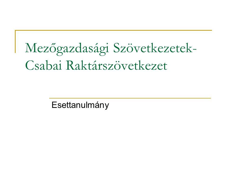 Mezőgazdasági Szövetkezetek- Csabai Raktárszövetkezet Esettanulmány