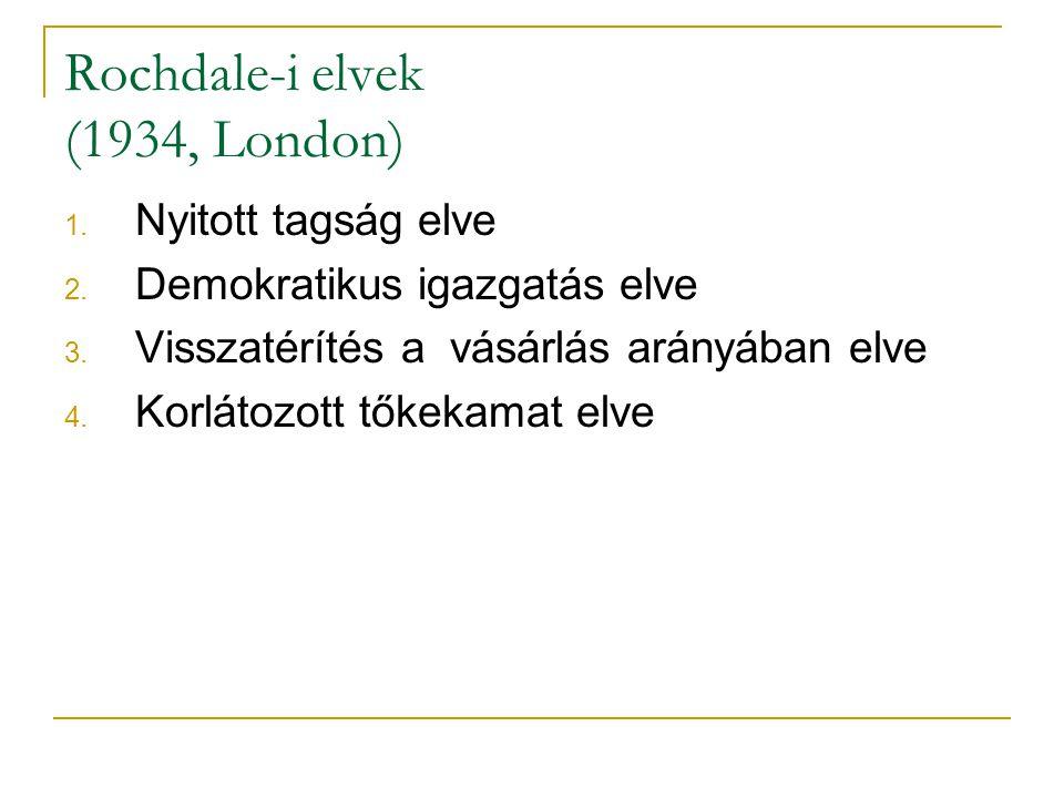 Rochdale-i elvek (1934, London) 1. Nyitott tagság elve 2. Demokratikus igazgatás elve 3. Visszatérítés a vásárlás arányában elve 4. Korlátozott tőkeka