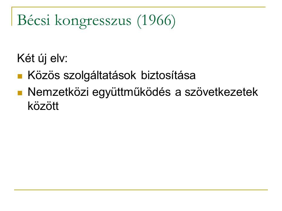 Bécsi kongresszus (1966) Két új elv: Közös szolgáltatások biztosítása Nemzetközi együttműködés a szövetkezetek között