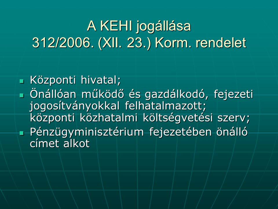 A KEHI jogállása 312/2006.(XII. 23.) Korm.