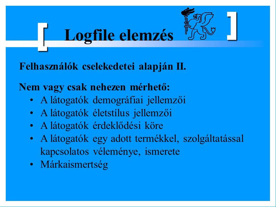 Logfile elemzés [ ] Felhasználók cselekedetei alapján II. Nem vagy csak nehezen mérhető: A látogatók demográfiai jellemzői A látogatók életstílus jell