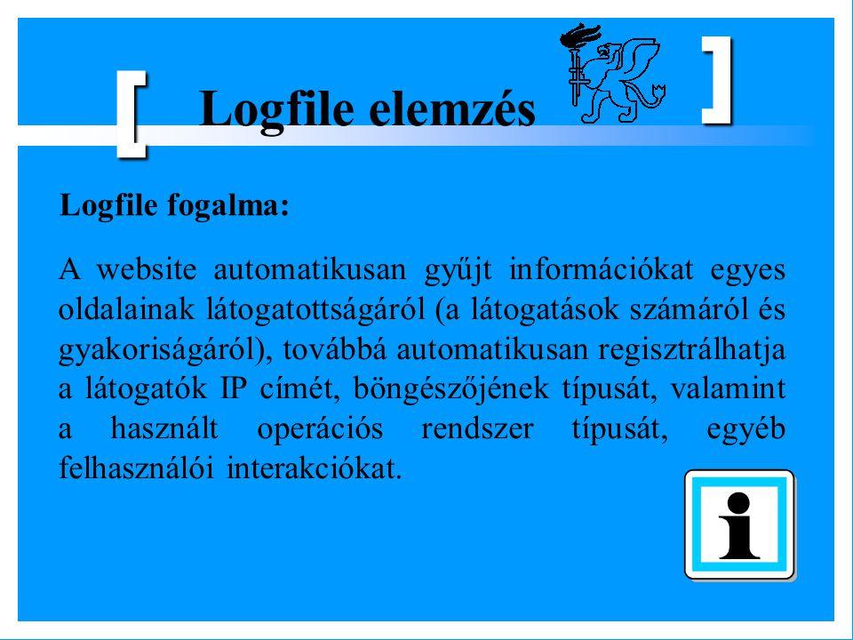 Logfile elemzés [ ] Hatalmas mennyiségű információ, manuálisan nem lehet feldolgozni, logfájl-elemző szoftverek, az elemzést általában nem az adott vállalat végzi el, hanem az erre specializálódott cégek.