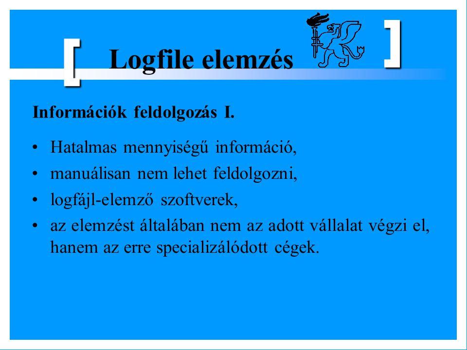 Logfile elemzés [ ] Hatalmas mennyiségű információ, manuálisan nem lehet feldolgozni, logfájl-elemző szoftverek, az elemzést általában nem az adott vá