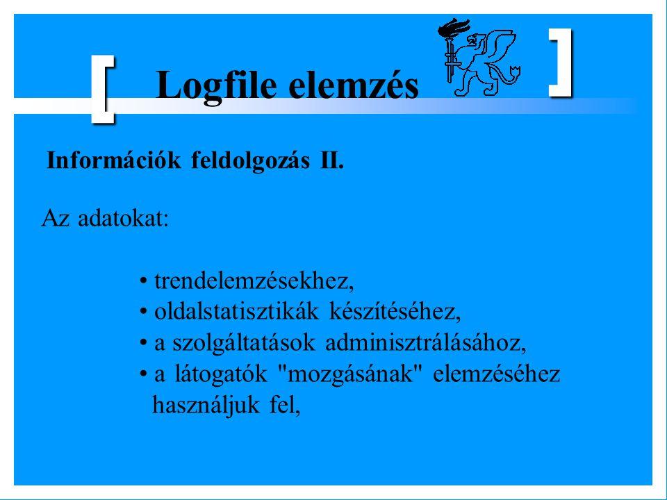 Logfile elemzés [ ] Az adatokat: trendelemzésekhez, oldalstatisztikák készítéséhez, a szolgáltatások adminisztrálásához, a látogatók
