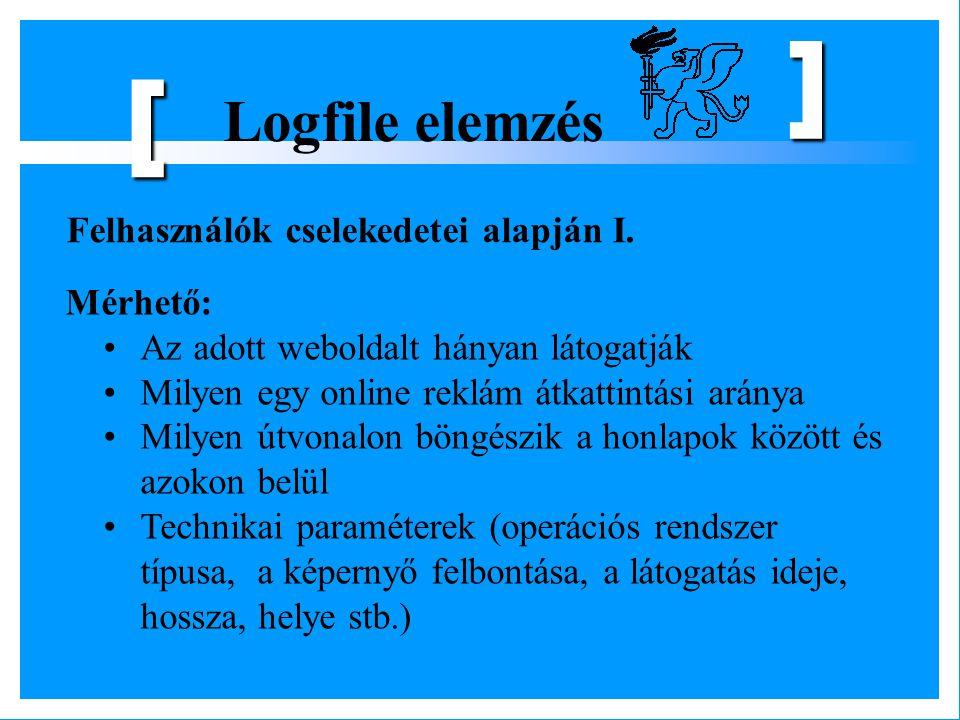 Logfile elemzés [ ] Felhasználók cselekedetei alapján I. Mérhető: Az adott weboldalt hányan látogatják Milyen egy online reklám átkattintási aránya Mi