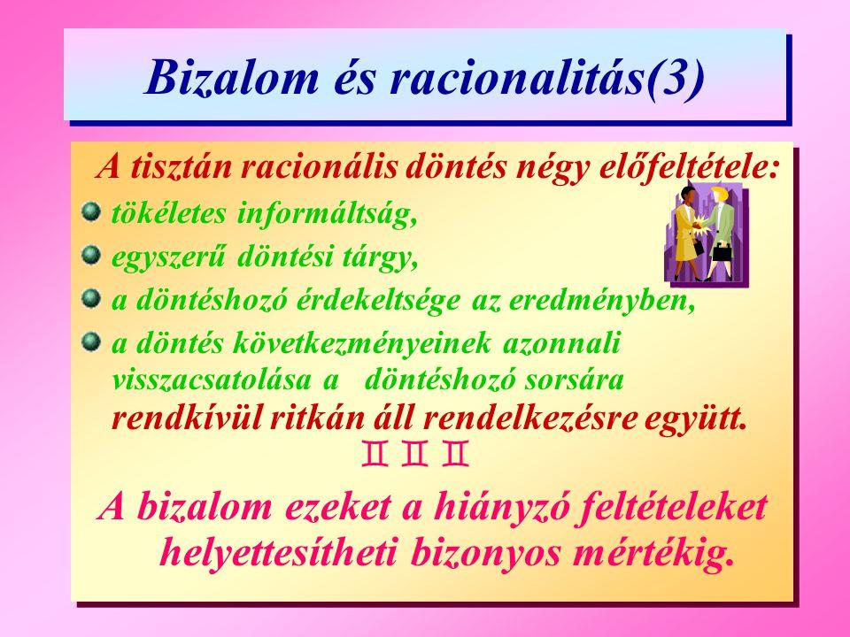 Bizalom és racionalitás(3) Bizalom és racionalitás(3) A tisztán racionális döntés négy előfeltétele: tökéletes informáltság, egyszerű döntési tárgy, a