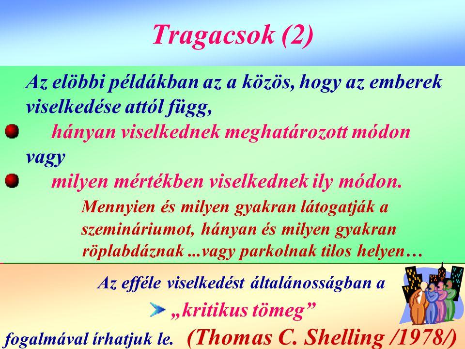 Tragacsok (2) Tragacsok (2) Az elöbbi példákban az a közös, hogy az emberek viselkedése attól függ, hányan viselkednek meghatározott módon vagy milyen