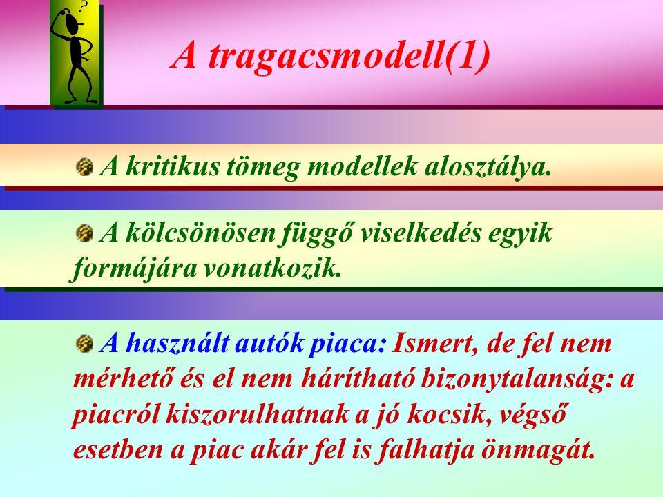 A tragacsmodell(1) A tragacsmodell(1) A kritikus tömeg modellek alosztálya. A kritikus tömeg modellek alosztálya. A kölcsönösen függő viselkedés egyik