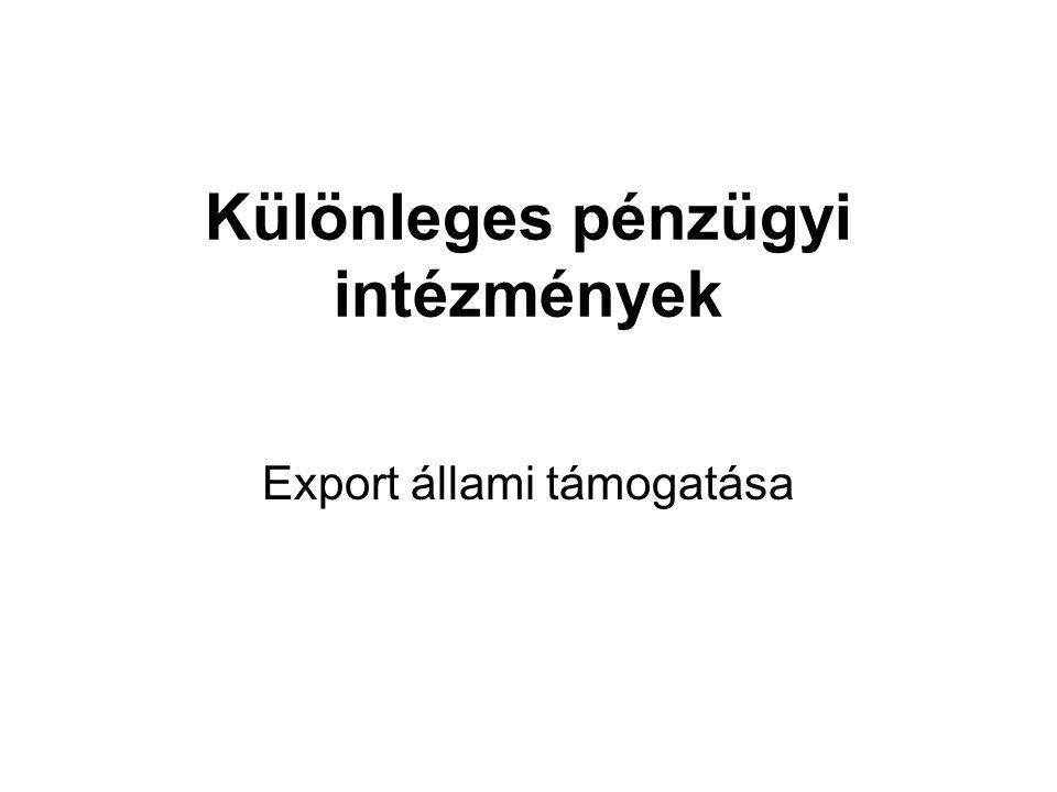 Export állami támogatása Különleges pénzügyi intézmények