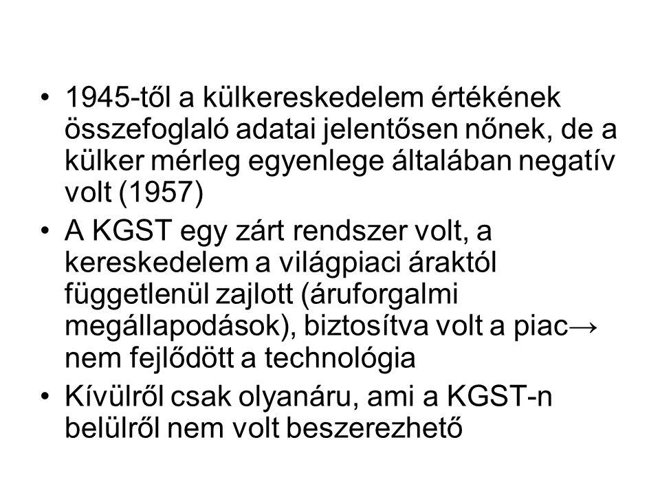 1945-től a külkereskedelem értékének összefoglaló adatai jelentősen nőnek, de a külker mérleg egyenlege általában negatív volt (1957) A KGST egy zárt