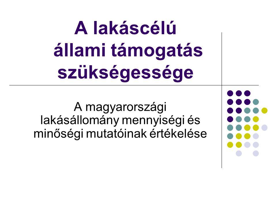 Lakásállomány összetétele A lakás állományon belül a tulajdonos által lakott lakások 92%-os aránya messze meghaladja az Európában jellemző értéket Fogy az önkormányzati bérlakás-állomány Elmaradt a magánbérleti szektor erősödése is Csaknem 500 ezer lakás van ún.