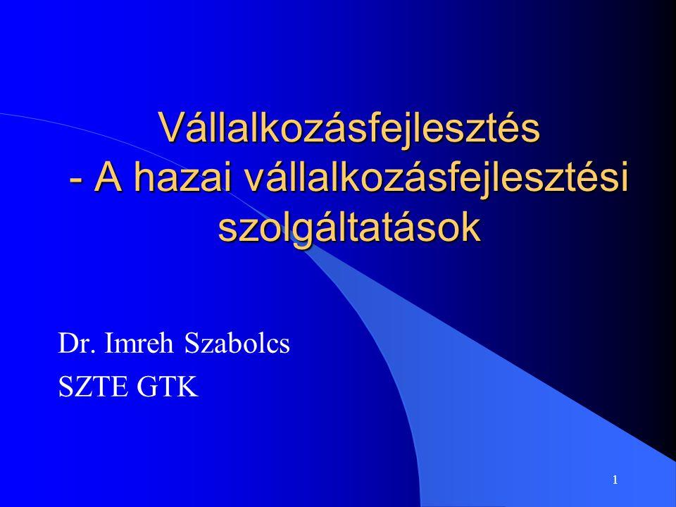 1 Vállalkozásfejlesztés - A hazai vállalkozásfejlesztési szolgáltatások Dr. Imreh Szabolcs SZTE GTK