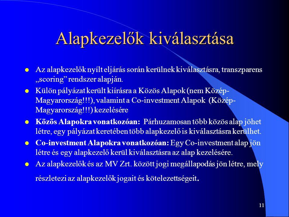10 Alapkezelők l A létrehozott kockázati tőke alapok kezelésére olyan alapkezelők pályázhatnak majd, amelyek a tőkepiaci törvény (Tpt.) szerint kockázati tőkealap kezelésére jogosultak a Magyar Köztársaság területén, megfelelő szakmai referenciákkal rendelkeznek, valamint be tudják vonni a szükséges mértékű magánforrásokat.