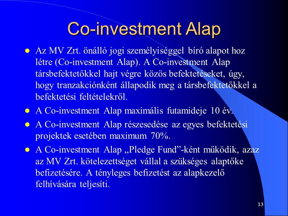 12 Közös Alap l Az MV Zrt. és a magánbefektető(k) közös, magyarországi bejegyzésű kockázati tőke alapot hoznak létre. l Az MV Zrt. a Közös alap tőkéjé