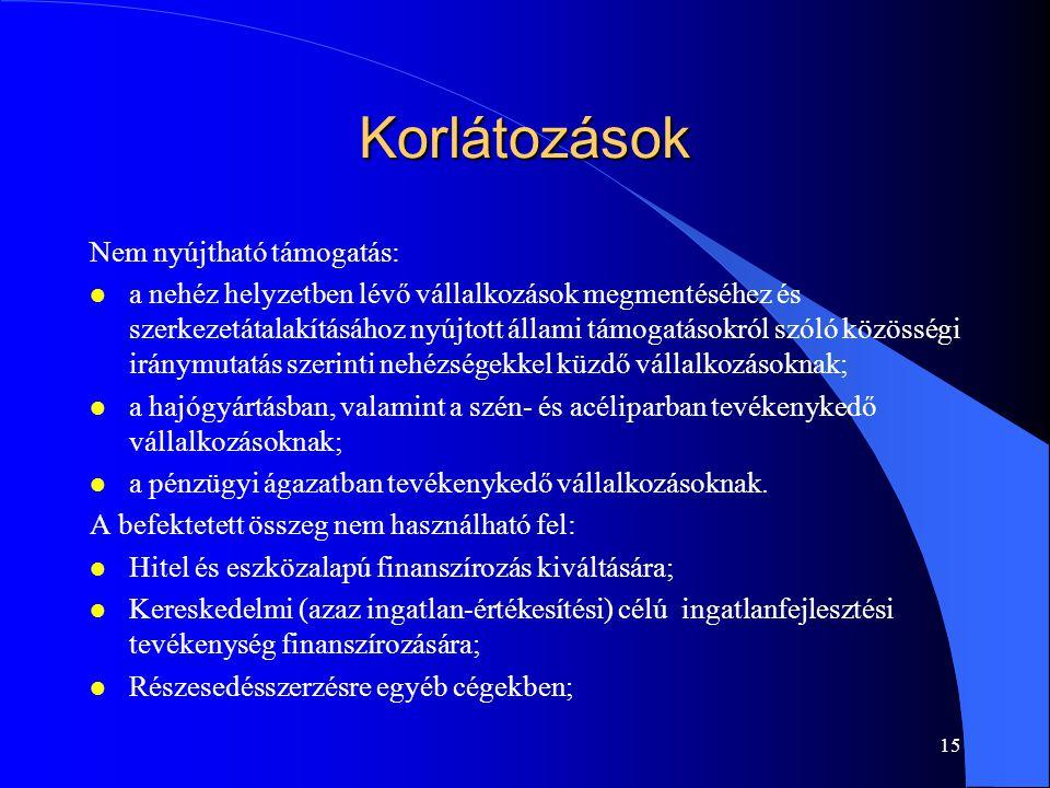 14 Potenciális célvállalat l Magyarországon bejegyzett, kizárólag a 2004. évi XXXIV. törvény alapján mikro-, kis- és középvállalkozásnak minősülő, Kft