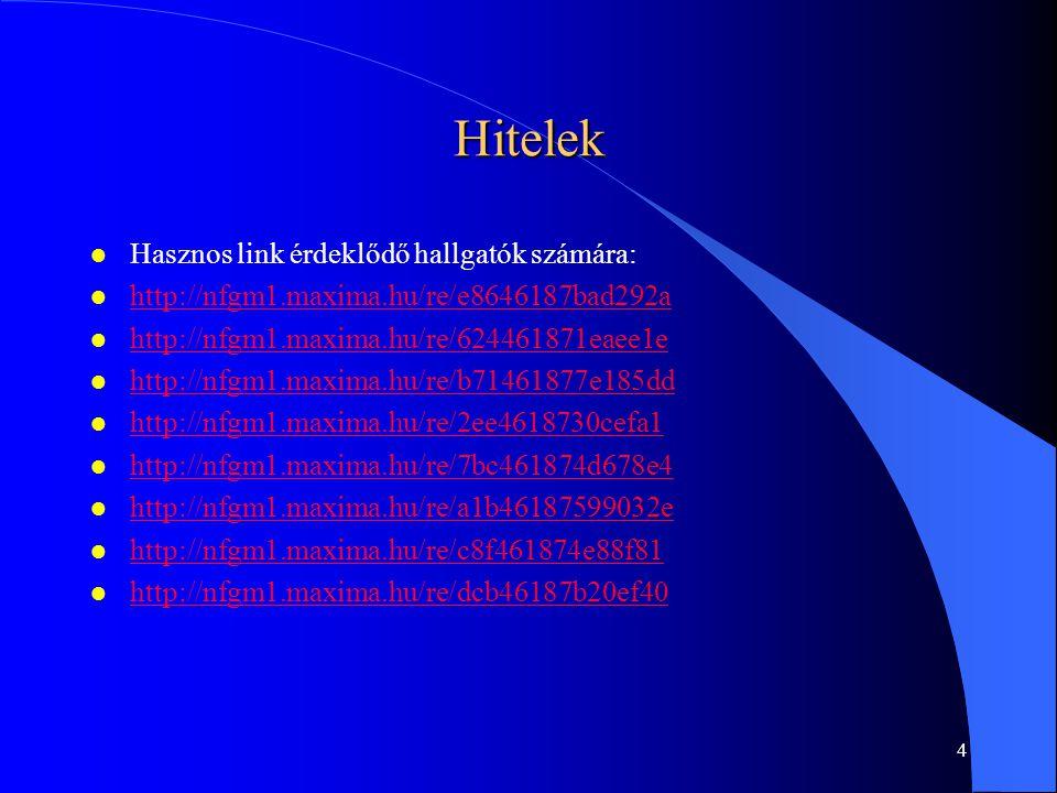 4 Hitelek l Hasznos link érdeklődő hallgatók számára: l http://nfgm1.maxima.hu/re/e8646187bad292a http://nfgm1.maxima.hu/re/e8646187bad292a l http://nfgm1.maxima.hu/re/624461871eaee1e http://nfgm1.maxima.hu/re/624461871eaee1e l http://nfgm1.maxima.hu/re/b71461877e185dd http://nfgm1.maxima.hu/re/b71461877e185dd l http://nfgm1.maxima.hu/re/2ee4618730cefa1 http://nfgm1.maxima.hu/re/2ee4618730cefa1 l http://nfgm1.maxima.hu/re/7bc461874d678e4 http://nfgm1.maxima.hu/re/7bc461874d678e4 l http://nfgm1.maxima.hu/re/a1b46187599032e http://nfgm1.maxima.hu/re/a1b46187599032e l http://nfgm1.maxima.hu/re/c8f461874e88f81 http://nfgm1.maxima.hu/re/c8f461874e88f81 l http://nfgm1.maxima.hu/re/dcb46187b20ef40 http://nfgm1.maxima.hu/re/dcb46187b20ef40