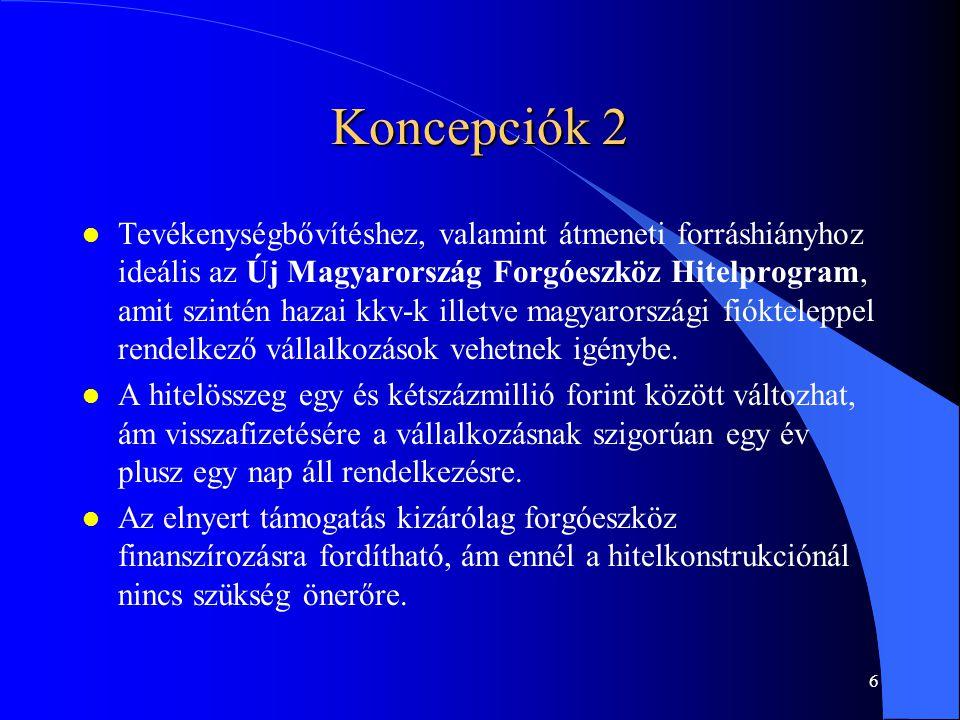 6 Koncepciók 2 l Tevékenységbővítéshez, valamint átmeneti forráshiányhoz ideális az Új Magyarország Forgóeszköz Hitelprogram, amit szintén hazai kkv-k illetve magyarországi fiókteleppel rendelkező vállalkozások vehetnek igénybe.
