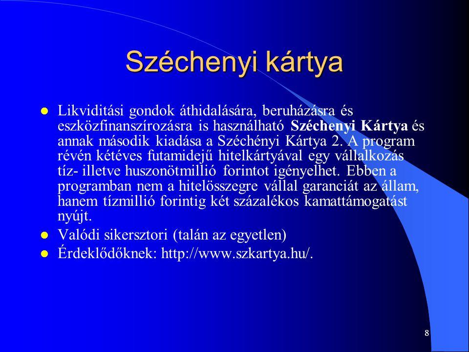 7 Koncepciók 3 l Az Új Magyarország Hitelgarancia Program keretében a kormány állami garanciát vállal a kereskedelmi bankokon és egyéb pénzintézeteken