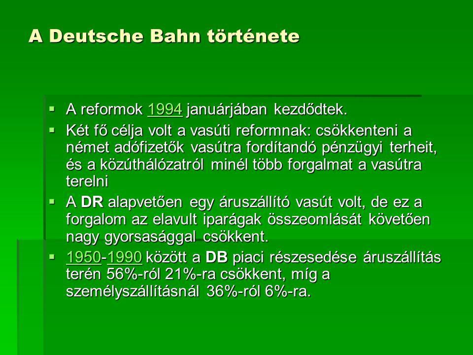 A Deutsche Bahn története  A reformok 1994 januárjában kezdődtek. 1994  Két fő célja volt a vasúti reformnak: csökkenteni a német adófizetők vasútra