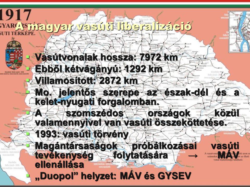 A magyar vasúti liberalizáció  Vasútvonalak hossza: 7972 km  Ebből kétvágányú: 1292 km  Villamosított: 2872 km  Mo. jelentős szerepe az észak-dél