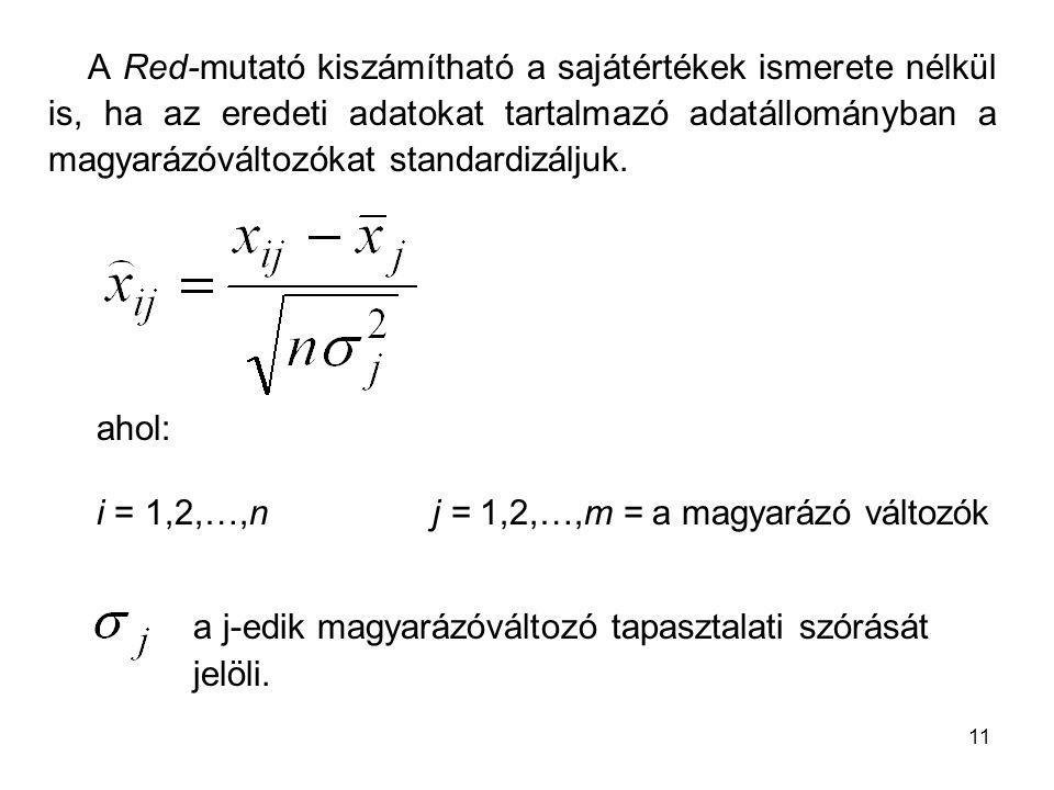 11 A Red-mutató kiszámítható a sajátértékek ismerete nélkül is, ha az eredeti adatokat tartalmazó adatállományban a magyarázóváltozókat standardizálju
