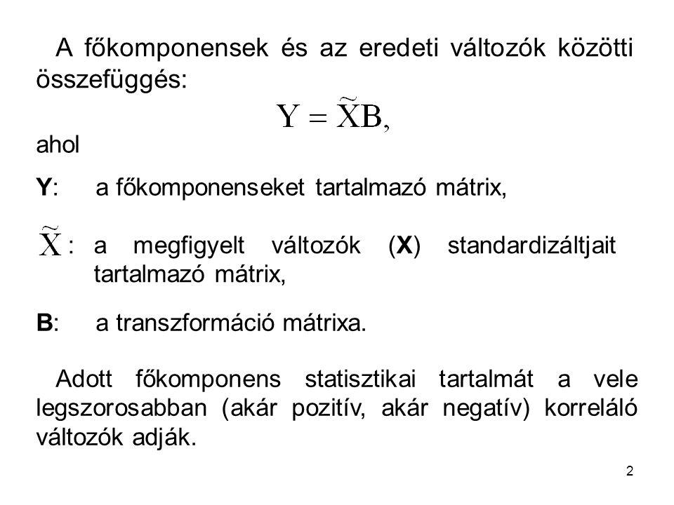 2 A főkomponensek és az eredeti változók közötti összefüggés: ahol Y: a főkomponenseket tartalmazó mátrix, B: a transzformáció mátrixa. Adott főkompon