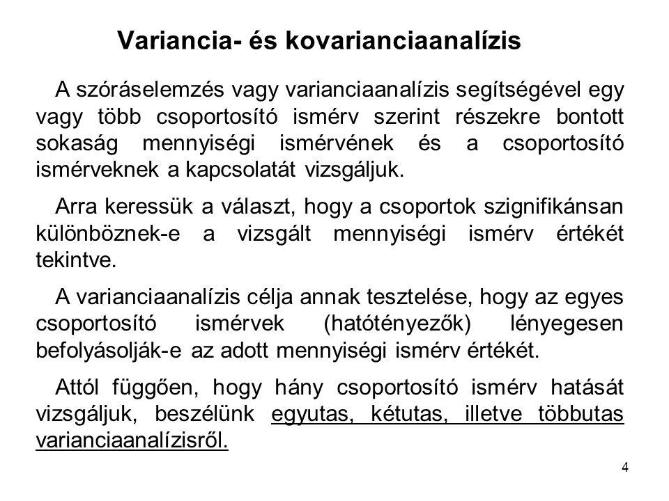 4 Variancia- és kovarianciaanalízis A szóráselemzés vagy varianciaanalízis segítségével egy vagy több csoportosító ismérv szerint részekre bontott sok