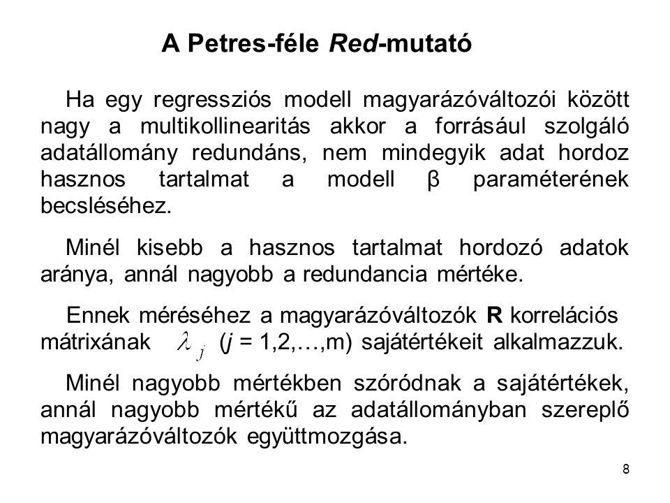 8 A Petres-féle Red-mutató Ha egy regressziós modell magyarázóváltozói között nagy a multikollinearitás akkor a forrásául szolgáló adatállomány redund