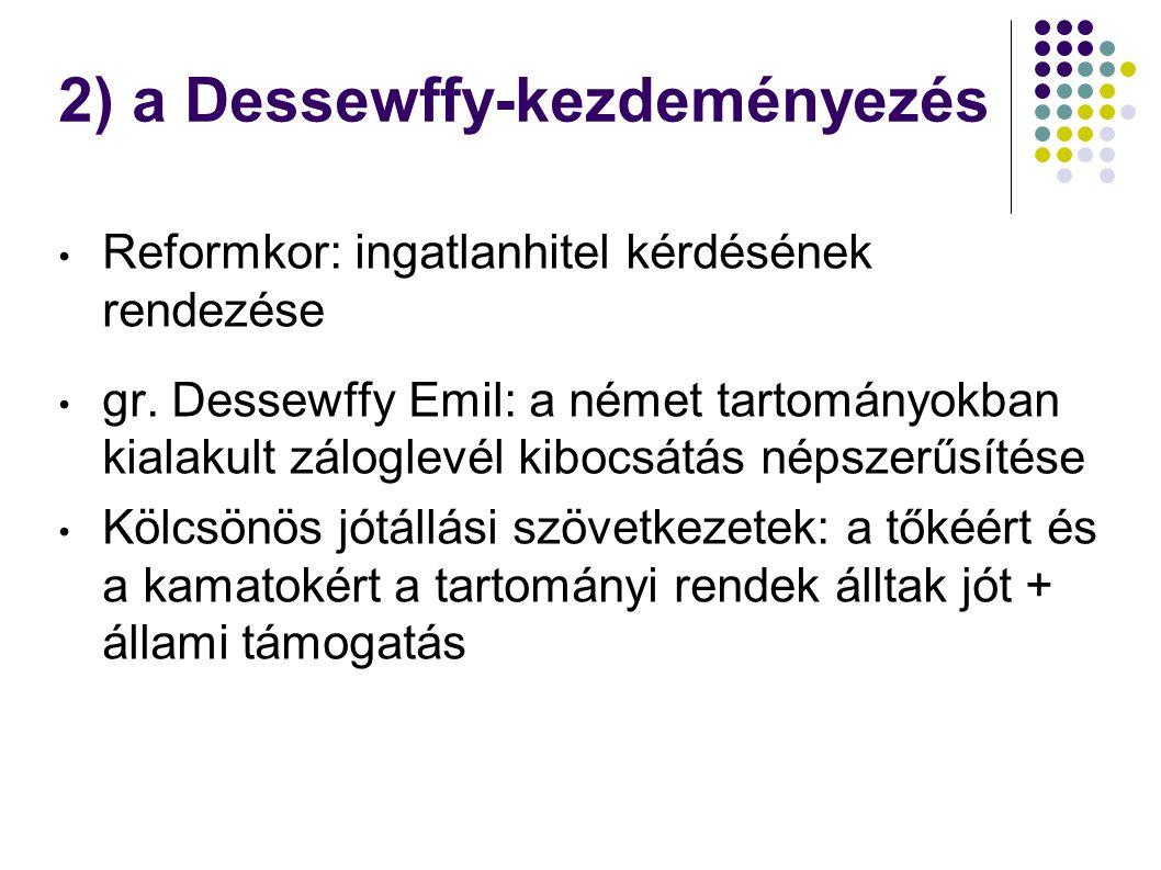 2) a Dessewffy-kezdeményezés Reformkor: ingatlanhitel kérdésének rendezése gr. Dessewffy Emil: a német tartományokban kialakult záloglevél kibocsátás