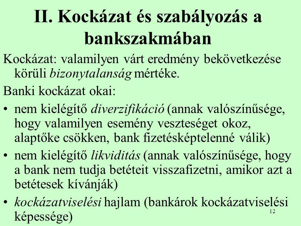 12 II. Kockázat és szabályozás a bankszakmában Kockázat: valamilyen várt eredmény bekövetkezése körüli bizonytalanság mértéke. Banki kockázat okai: ne