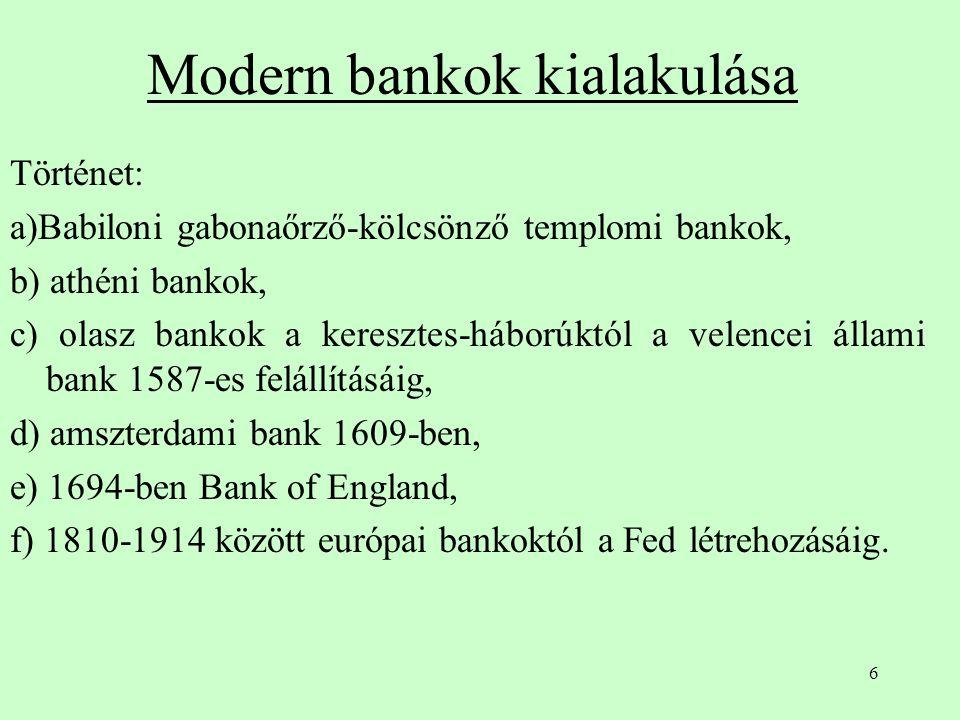 6 Modern bankok kialakulása Történet: a)Babiloni gabonaőrző-kölcsönző templomi bankok, b) athéni bankok, c) olasz bankok a keresztes-háborúktól a vele