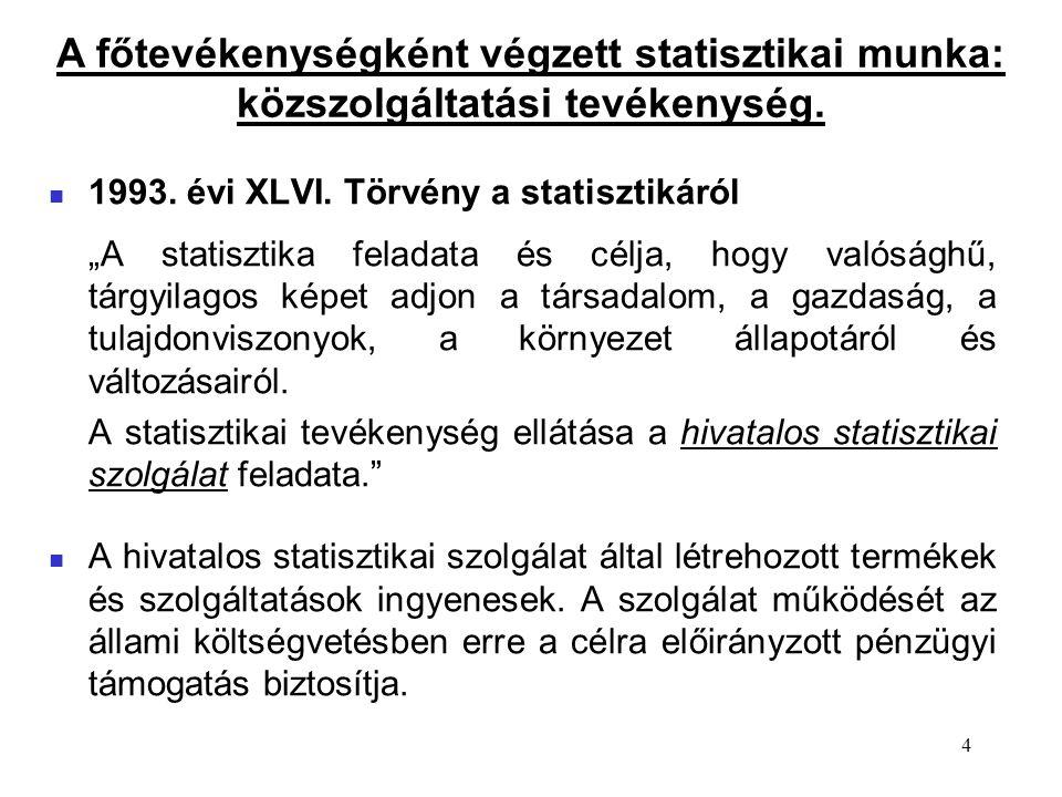 """4 1993. évi XLVI. Törvény a statisztikáról """"A statisztika feladata és célja, hogy valósághű, tárgyilagos képet adjon a társadalom, a gazdaság, a tulaj"""
