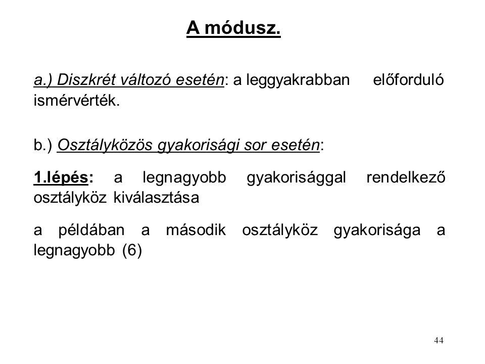 44 a.) Diszkrét változó esetén: a leggyakrabban előforduló ismérvérték.