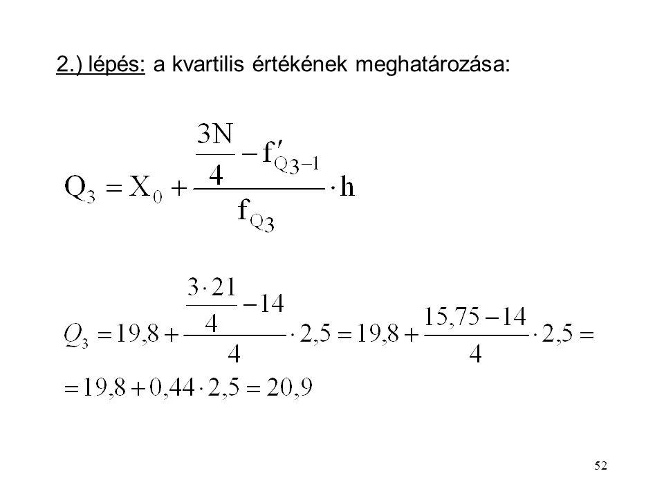 52 2.) lépés: a kvartilis értékének meghatározása: