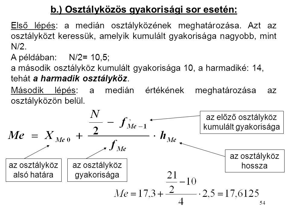 54 b.) Osztályközös gyakorisági sor esetén: Első lépés: a medián osztályközének meghatározása.