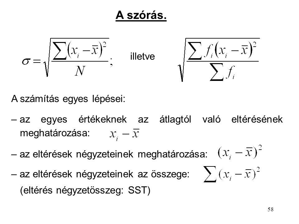 58 A szórás. illetve A számítás egyes lépései: – az egyes értékeknek az átlagtól való eltérésének meghatározása: – az eltérések négyzeteinek meghatáro