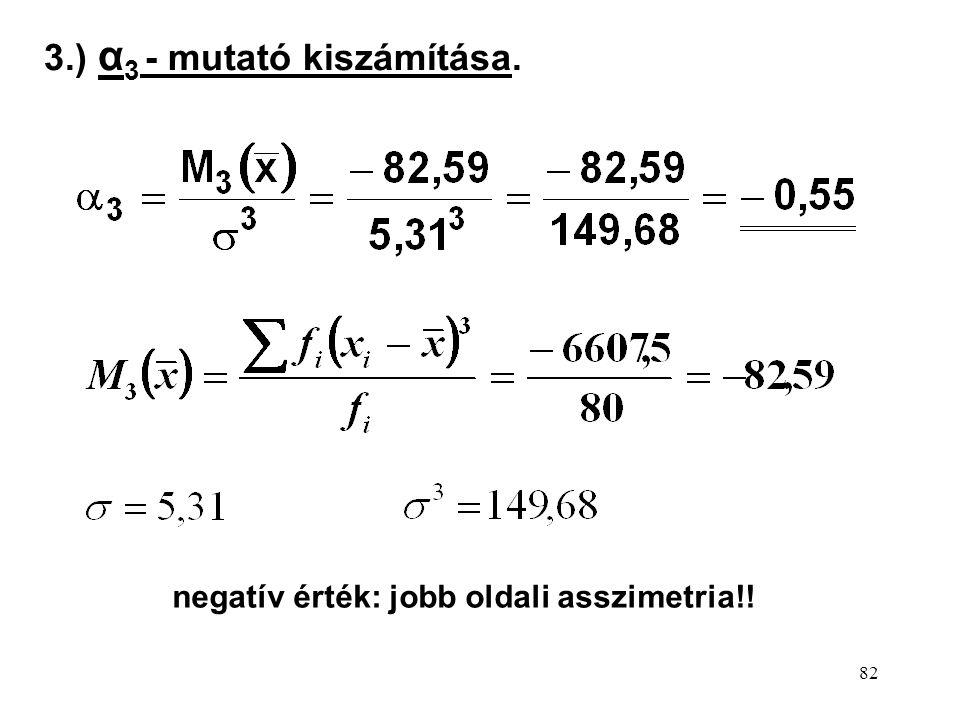 82 3.) α 3 - mutató kiszámítása. negatív érték: jobb oldali asszimetria!!