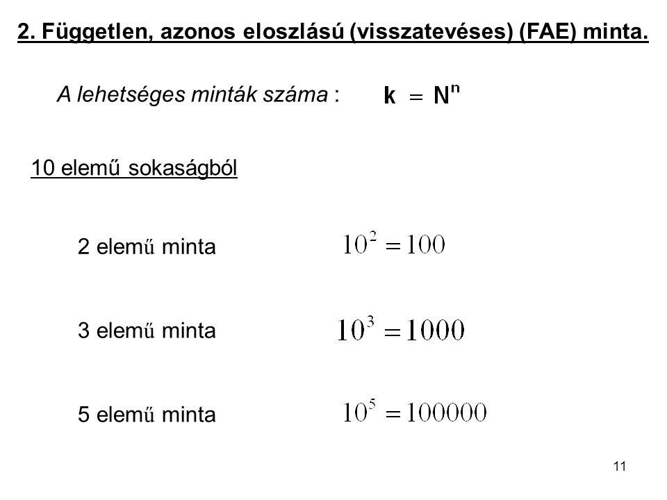 11 2. Független, azonos eloszlású (visszatevéses) (FAE) minta. A lehetséges minták száma : 10 elemű sokaságból 2 elem ű minta 3 elem ű minta 5 elem ű