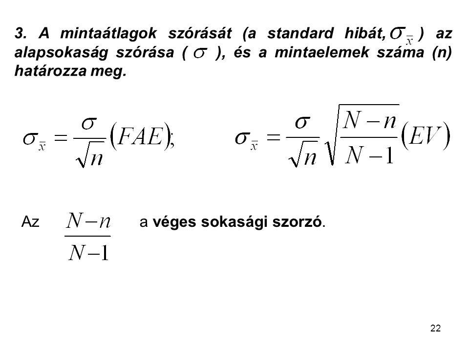22 3. A mintaátlagok szórását (a standard hibát, ) az alapsokaság szórása ( ), és a mintaelemek száma (n) határozza meg. a véges sokasági szorzó.Az