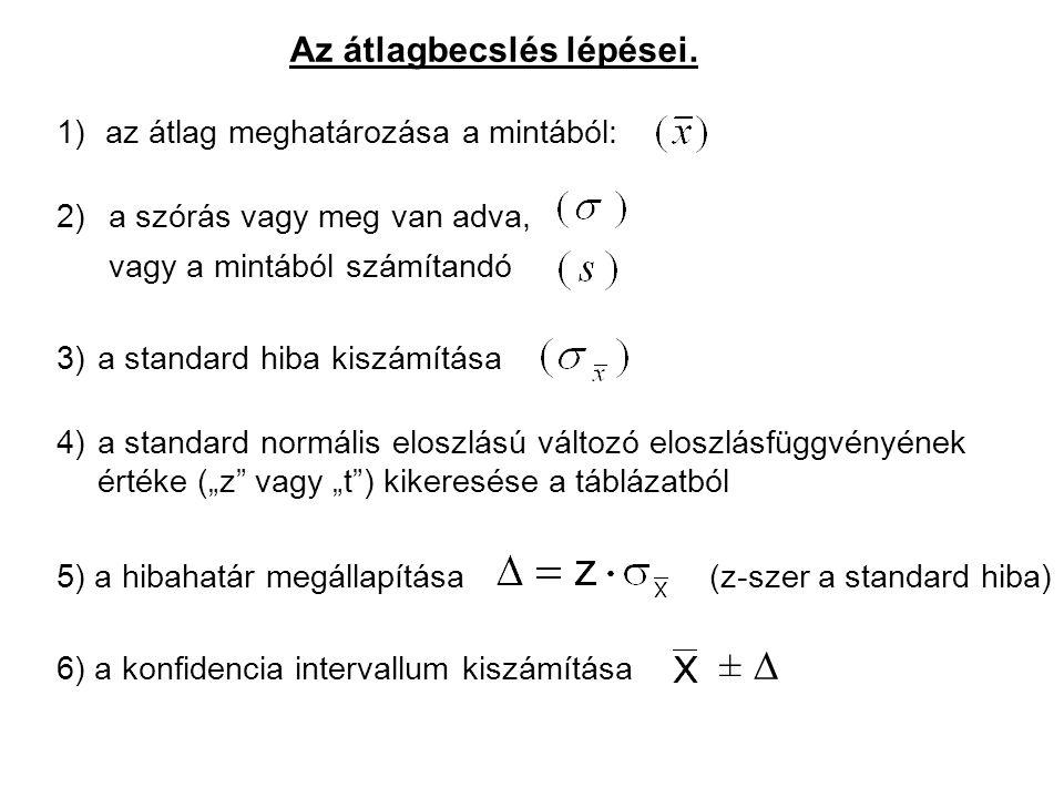 """±  4) a standard normális eloszlású változó eloszlásfüggvényének értéke (""""z"""" vagy """"t"""") kikeresése a táblázatból 2) a szórás vagy meg van adva, vagy a"""