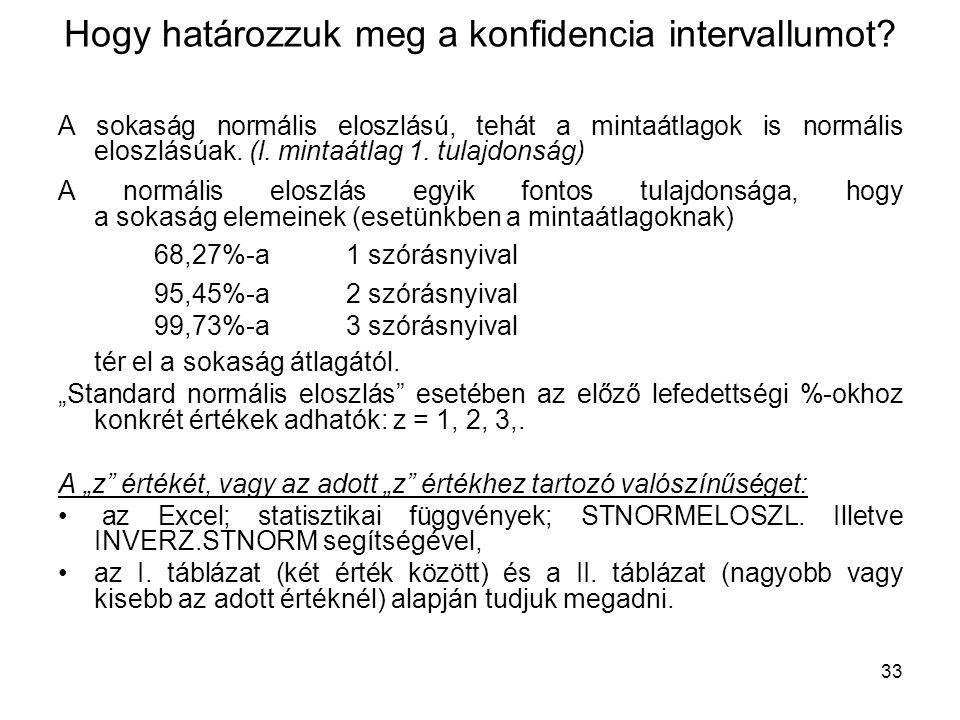 33 Hogy határozzuk meg a konfidencia intervallumot? A sokaság normális eloszlású, tehát a mintaátlagok is normális eloszlásúak. (l. mintaátlag 1. tula