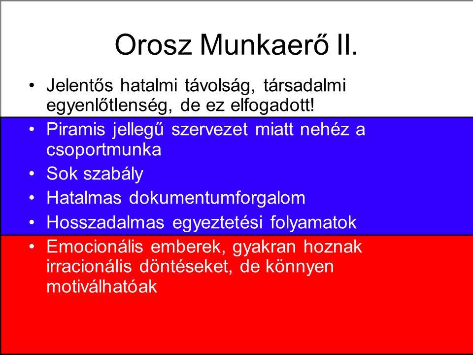 Orosz Munkaerő II.Jelentős hatalmi távolság, társadalmi egyenlőtlenség, de ez elfogadott.
