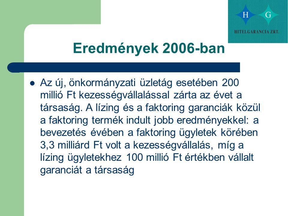 Eredmények 2006-ban Az új, önkormányzati üzletág esetében 200 millió Ft kezességvállalással zárta az évet a társaság. A lízing és a faktoring garanciá