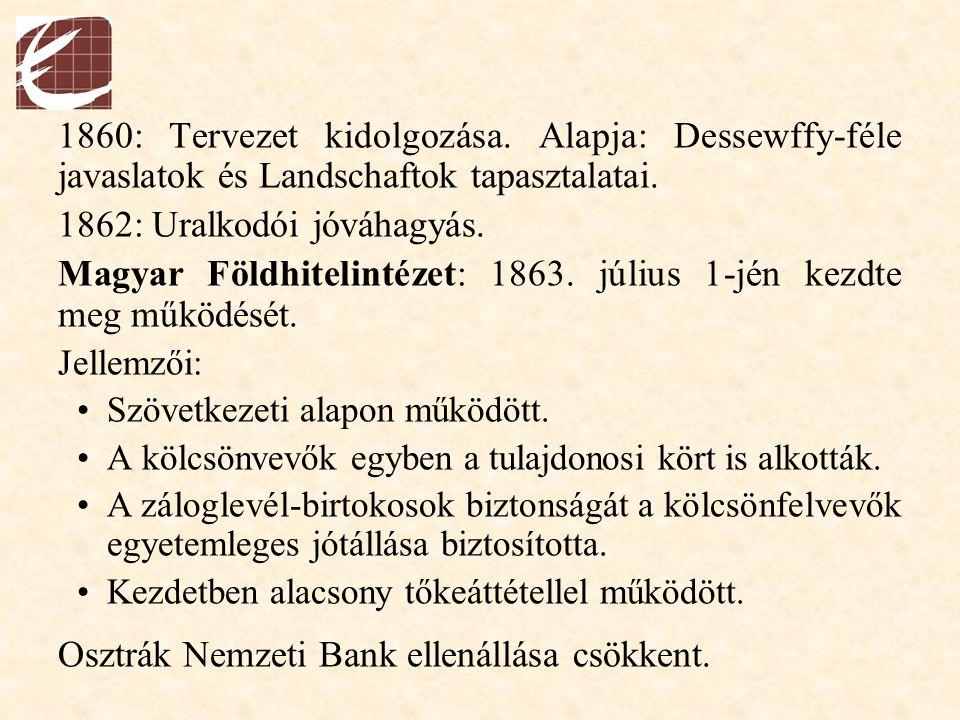 1860: Tervezet kidolgozása. Alapja: Dessewffy-féle javaslatok és Landschaftok tapasztalatai. 1862: Uralkodói jóváhagyás. Magyar Földhitelintézet: 1863