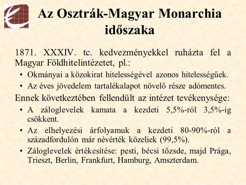 Az Osztrák-Magyar Monarchia időszaka 1871. XXXIV. tc. kedvezményekkel ruházta fel a Magyar Földhitelintézetet, pl.: Okmányai a közokirat hitelességéve