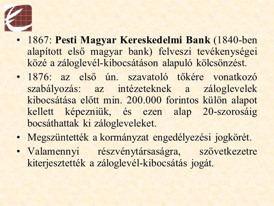 1867: Pesti Magyar Kereskedelmi Bank (1840-ben alapított első magyar bank) felveszi tevékenységei közé a záloglevél-kibocsátáson alapuló kölcsönzést.