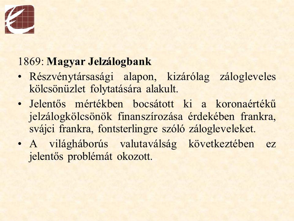 1869: Magyar Jelzálogbank Részvénytársasági alapon, kizárólag zálogleveles kölcsönüzlet folytatására alakult. Jelentős mértékben bocsátott ki a korona