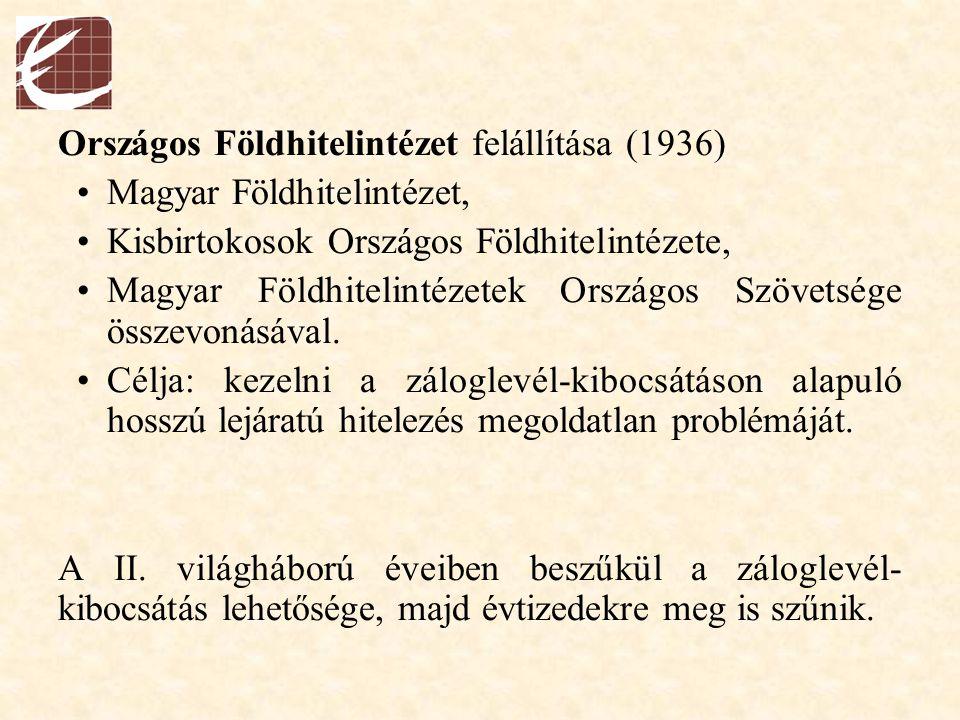 Országos Földhitelintézet felállítása (1936) Magyar Földhitelintézet, Kisbirtokosok Országos Földhitelintézete, Magyar Földhitelintézetek Országos Szö