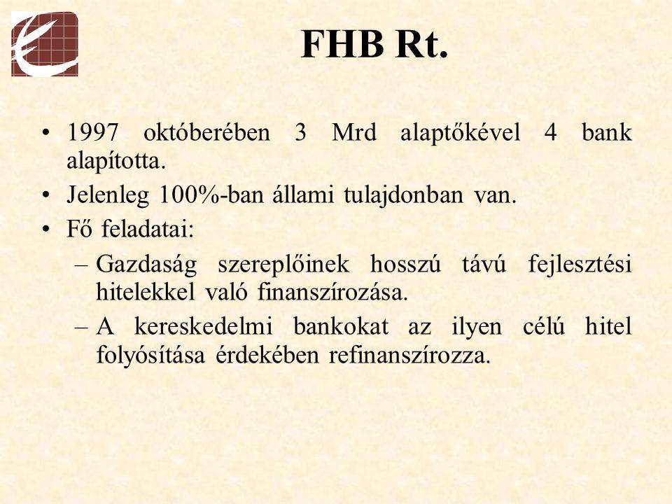 FHB Rt. 1997 októberében 3 Mrd alaptőkével 4 bank alapította. Jelenleg 100%-ban állami tulajdonban van. Fő feladatai: –Gazdaság szereplőinek hosszú tá